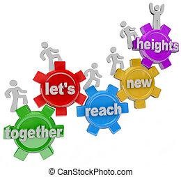 osiągać, razem, wysokości, pozw, mechanizmy, drużyna, nowy