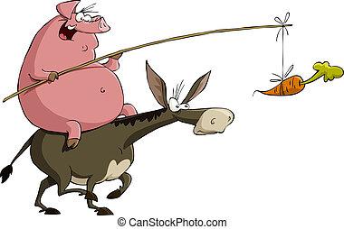 osioł, świnia