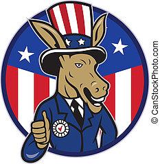 osioł, do góry, demokrata, bandera, kciuki, maskotka