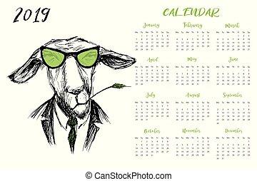 osioł, kalendarz, 2019, zabawny, hipster