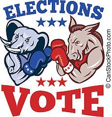 osioł, republikanin, słoń, demokrata, maskotka