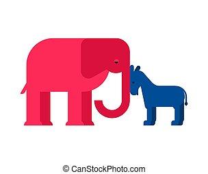 osioł, usa., demokrata, ilustracja, america., wektor, słoń, partia, republikanin