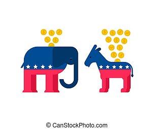 osioł, usa., moneybox., demokrata, ilustracja, wektor, słoń, partia, republikanin