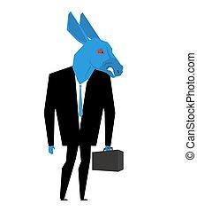 osioł, wybory, handlowa metafora, dziki, zjednoczony, zwierzę, suit., partia, demokratyczny, businessman., usa, ilustracja, tie., aktówka, states., polityczny, zwierzę