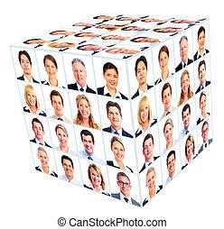 osoba, collage., sześcian, group., handlowy
