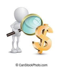 osoba, dolary, czek, szkło, powiększający, 3d