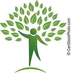 osoba, drzewo, logo