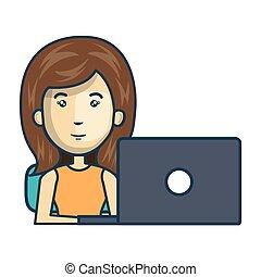 osoba, laptop, avatar, pracujący