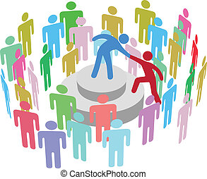 osoba, mówić, grupa, pomoce, lider