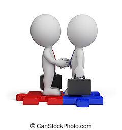 osoba, spotkanie, handlowy, 3d