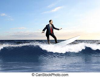 osoba, surfing, młody, handlowy, fale