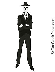 osoba, szkielet, garnitur