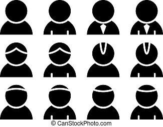 osoba, wektor, czarnoskóry, ikony