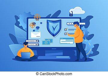 osobisty, bezpieczeństwo, cyfrowy