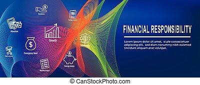 osobisty, -, finanse, chorągiew, odpowiedzialność, &, komplet, sieć, ikona, chodnikowiec
