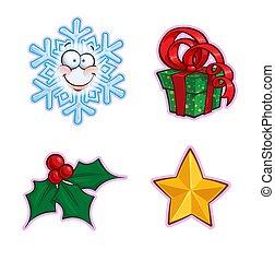 ostrokrzew, -, ikona, komplet, dar, płatek śniegu, boże narodzenie, gwiazda