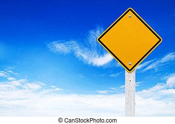 ostrzeżenie, (clipping, znaki, tło, czysty, niebo, droga, żółty