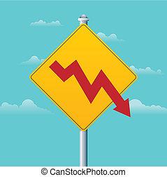 ostrzeżenie, deficyt, znak