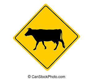 ostrzeżenie, krowa, znak