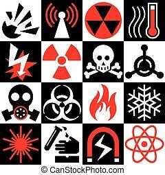 ostrzeżenie, red-black-white, ryzykować, ikony