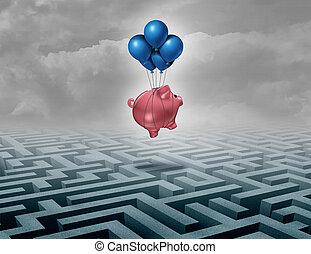 oszczędności, pieniężny podtrzymują