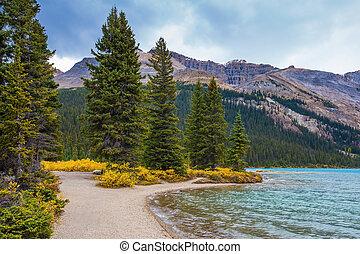 otoczony, jezioro, góry