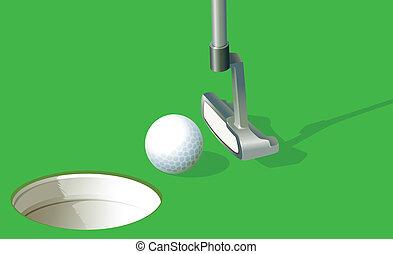 otwór, piłka, golf