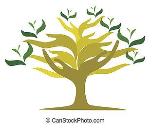 otwarty, drzewo, siła robocza