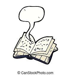 otwarty, mowa, książka, bańka, rysunek