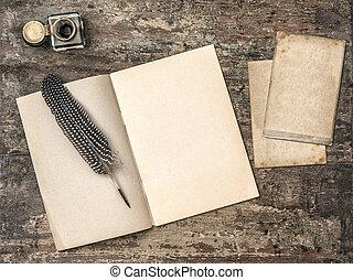 otwarty, rocznik wina, kałamarz, książka, pisanie pióro, pióro, narzędzia