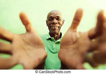 otwarty, stary, siła robocza, obejmowanie, herb, aparat fotograficzny, afrykański człowiek