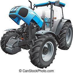 otwarty, traktor, kaptur