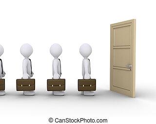 otwarty, usługiwanie, drzwi, biznesmeni