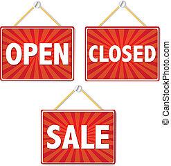 otwarty, zamknięte oznakowanie