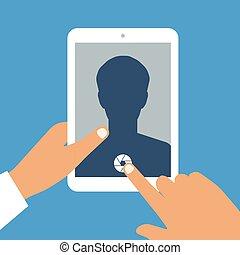 otworzony, tabliczka, app, zawiera, ręka, pc, aparat fotograficzny, ludzki