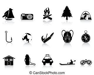 outdoors, czarnoskóry, obozowanie, ikona