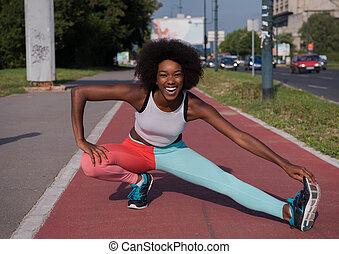 outdoors, portret, amerykanka, sporty, afrykańska kobieta, rozciąganie, młody
