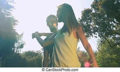 outdoors, taniec, para, kochający