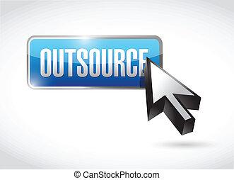 outsource, projektować, guzik, ilustracja