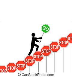 overcomes, zatrzymajcie znaczą, osoba, podwyżki, znaki, iść