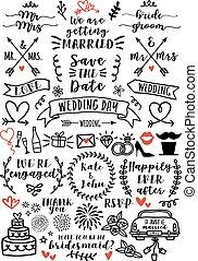overlays, wektor, komplet, ślub