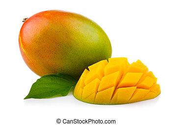 owoc, świeży, odizolowany, liście, zielony, mangowiec, cięty
