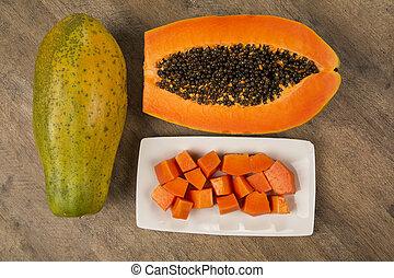 owoc, cięty, brazylijczyk, mamao, świeży, papaya wysiewa, tropikalny, soczysty