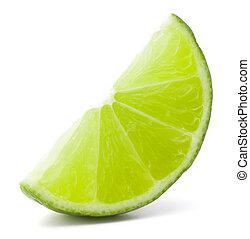 owoc, cutout, segment, tło, odizolowany, cytrus, wapno, biały