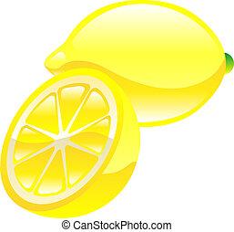 owoc, cytryna, clipart, ikona