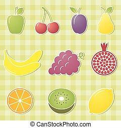 owoc, illustration., wektor, icons.