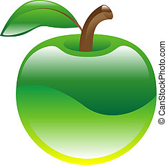 owoc, jabłko, clipart, ikona