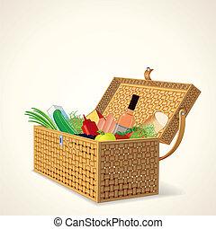 owoc, kosz, warzywa, piknik, wino.