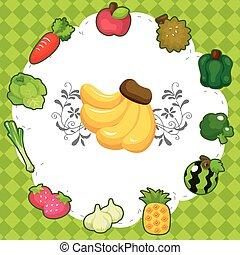 owoc, rysunek, karta