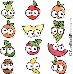 owoc, rysunek, litery